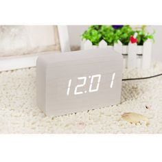 Bílý budík s bílým LED displejem Gingko Brick Click Clock Timber Wood, Mdf Wood, Led Alarm Clock, Digital Alarm Clock, 24 Hour Clock, Best Alarm, Cool Office Supplies, Gifts For Hubby