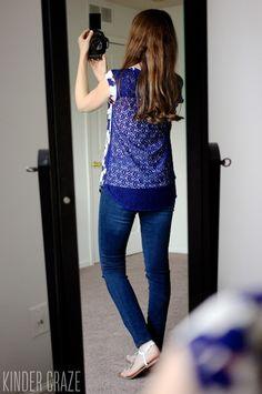 Daniel Rainn Deena Crochet Back Blouse with Kensie Sophia skinny jeans from Stitch Fix #stitchfix #fashion