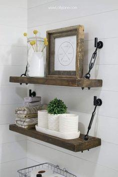 Diy Hanging Shelves For Simple Storage And Beautiful Decor Ideas Diy Hanging Shelves, Easy Shelves, Regal Design, Farmhouse Wall Decor, Farmhouse Shelving, Farmhouse Bathrooms, Modern Bathrooms, Rustic Shelves, Dream Bathrooms