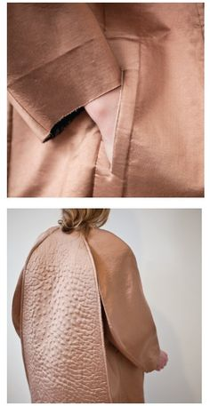 What a cosy coat -- Experimental Fashion Design - cocoon coat with a sculptural cut & cracked textures; 3d Fashion, Look Fashion, Fashion Details, High Fashion, Fashion Beauty, Womens Fashion, Fashion Design, Fashion Trends, Textiles