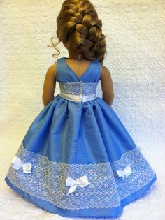 Blue Party Dress- interesting use of lace. American Girl Diy, American Girl Dress, American Doll Clothes, Ag Doll Clothes, Doll Clothes Patterns, Doll Patterns, American Dolls, Doll Dresses, Doll Outfits