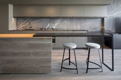 sophisticated taupe kitchen marble osmose design