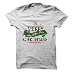 Merry Christmas & Happy New Year - Ribbon - #tshirt bemalen #purple sweater. GET YOURS => https://www.sunfrog.com/LifeStyle/Merry-Christmas--White-3985438-Guys.html?68278