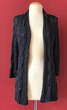 EILEEN FISHER Charcoal Gray Metallic Knit Cardigan Sweater Size M #EileenFisher #Cardigan