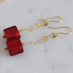 Long Red Earrings Murano Glass Earrings by ElektraJewelry on Etsy