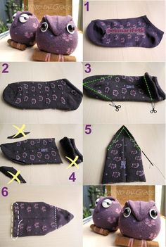 How to make a toy owl from socks? Diy Sock Toys, Sock Crafts, Sewing Crafts, Sewing Projects, Dr Seuss Costumes, Diy Costumes, Sock Dolls, Sock Animals, Crafts For Boys