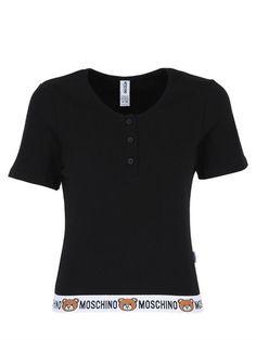 MOSCHINO UNDERWEAR TEDDY BEAR LOGO RIBBED COTTON T-SHIRT, BLACK. #moschinounderwear #cloth #t-shirts