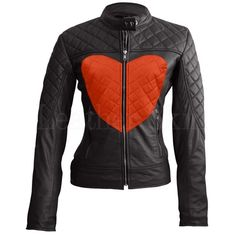 Leather Skin Women Love Black with Gray Heart Quilted Leather Jacket Red Love Heart, Black And White Heart, Pink Love, Heart Real, Leather Skin, Black Leather, Biker Leather, Leather Collar, Cowhide Leather