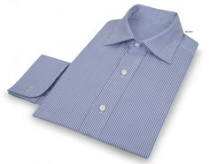 http://chicerman.com  luxirecustom:  Luxire dress shirt constructed inVista Blue Dress Stripes  Consists of custom semi-spread collar and shirred french cuffs.  #menshoes