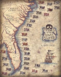 Pirates of the South Atlantic and their flags.