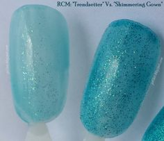 """Sometimes gel polishes make dupes--even WITHIN the same brand!  This is two Red Carpet Manicure shades: the limited edition """"Trendsetter"""" from the Dazzling Gems collection  versus the permanent """"Shimmering Gown"""".  More pictures and information is at http:gel-luv.blogspot.com"""