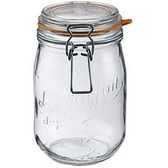 Canning jar kit includes six 1-liter glass bottlesLe Parfait kitchen storage set made in FranceFood storage for keeping nuts, grains and other provisions