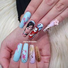 Disney Acrylic Nails, Disney Nails, Summer Acrylic Nails, Best Acrylic Nails, Acrylic Nail Designs, Blush Nails, Aycrlic Nails, Swag Nails, Cute Nails