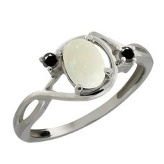 Amazon.com: 0.66 Ct Oval/cabouchon White Opal and Black Diamond Sterling Silver Ring: Jewelry