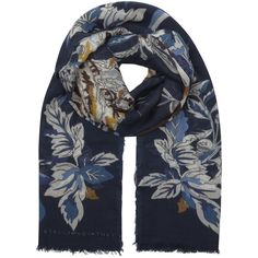Stella McCartney Navy cat-print wool blend scarf ($400) ❤ liked on Polyvore featuring accessories, scarves, navy shawl, navy scarves, multi colored scarves, colorful scarves and stella mccartney