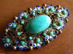 Antique Art Deco Czech Peking Glass Enamel Floral Brass Filigree Vtg Brooch Pin   eBay
