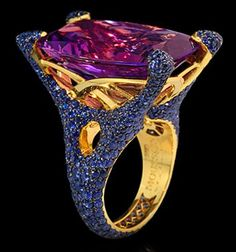 """Mousson Atelier New Age Collection """"""""Sabre"""""""" Gold 750 Amethyst and Sapphire Ring featuring 25.49ct Amethyst and 5.69ct Sapphire; 20.53g total weight"""