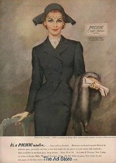 1951 Frechtel Pacific Mills Womens Suit 50's Fashion Ad Vintage Advertising Mmxv