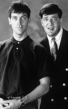 Hugh Laurie & Stephen Fry--brilliant comedians and friends Peep Show, British Comedy, British Actors, British Men, Jeeves And Wooster, Hugh Laurie, Film Serie, Funny People, Celebrity Photos