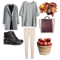Image via We Heart It #apple #autumn #bag #blackshoes #boots #classy #clothes #coat #fall #fashion #fruit #girl #healthy #idea #inspiration #jacket #leaves #look #model #outfit #school #shirt #shoes #simplicity #stripes #style #trousers #woman #stripesshirt #stylisation