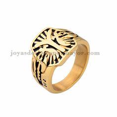 anillo especial moda en acero dorado inoxidable -SSRGG371792