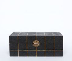Quique Box in Black Shagreen/Gold from Made Goods.  Also avialable in Off-White Shagreen/Gold, and Seal Shagreen/Silver.  18L x 10W x 7H