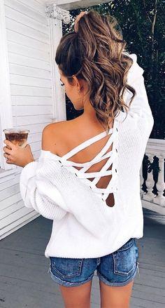 Super Outfit für Frühling /Sommer!! Ich mag Oberteile, mit Blick auf den Rücken! Auch ein schönen Rücken kann entzücken.... Nice!!!