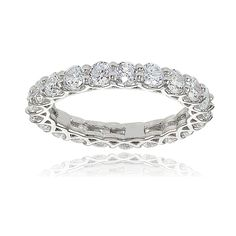 Icz Stonez Sterling Silver Cubic Zirconia 3mm Round-cut Eternity Band Ring (Sterling Silver Size 9), Women's, White
