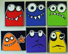 rED and bLuE UgLiEs  set of 8 8x10 original paintings on