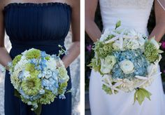 eco-friendly-wedding-bridesmaids-bridal-bouquet-hydrangea-shells
