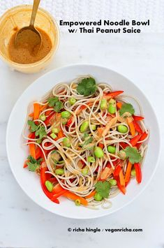 Empowered Noodle Bowl with Thai Peanut Sauce & Oh She Glows Book Review and Giveaway. Vegan Glutenfree | Vegan Richa
