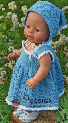 Målfrid Gausel's doll dress patterns - a blue summer dream for your doll Knitted Doll Patterns, Doll Dress Patterns, Knitted Dolls, Baby Knitting Patterns, Baby Born Clothes, Bitty Baby Clothes, Knitting Dolls Clothes, Crochet Doll Clothes, Crochet For Kids