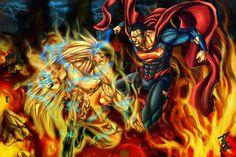 Goku vs. Superman Commission by phil-cho.deviantart.com on @deviantART