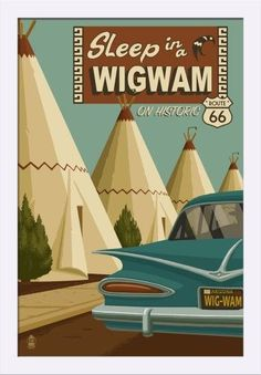 Holbrook, Arizona - Route 66 - Wigwam Village Motel - Lantern Press Artwork (16x24 Giclee Art Print, Gallery Framed, White Wood), Multi