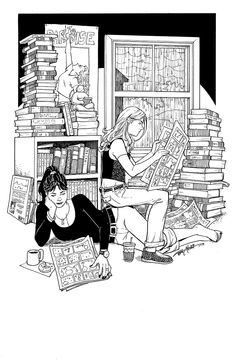 Terry Moore is another favorite comic book artist of mine. I just really dig his style. Francine and Katchoo reading Comics