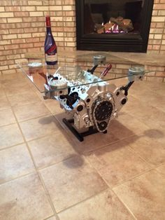 Attractive Small Block Chevy Coffee Table / Motor Table/ Man Cave