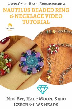 Nautilus Beaded Ring & Necklace Tutorial and Our Beads Review By Aleshia Beadifulnights | SAVE it! | CzechBeadsExclusive.com #czechbeadsexclusive #czechbeads