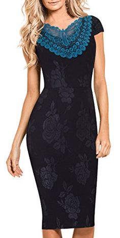New Trending Formal Dresses: HOMEYEE Womens Vintage Lace Short Sleeve V-Neck Sheath Party Dress B373 (10, Black). HOMEYEE Women's Vintage Lace Short Sleeve V-Neck Sheath Party Dress B373 (10, Black)  Special Offer: $26.99  488 Reviews *Dress Description:This stylish, short sleeve, v-neck, chic, black dress that could be dressed up or down depending on the occasion: for example, worn for...