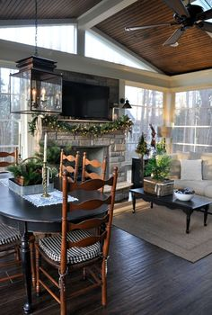 Christmas Home Tour 2016 – Back Porch. I pinned this for the colors. Love the mix of blacks and browns.