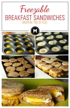 Muffin Tin Breakfast Sandwiches! Make 12 eggs in a muffin tin and they fit perfectly on English muffins for breakfast sandwiches. Freeze them for later!