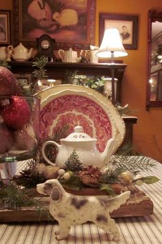 Love the combo of Mason's Vista and Christmas and what looks like Spode.