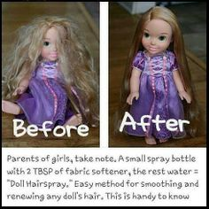 "Parents of girls, take note. A small spray bottle with 2 TBSP of fabric softener, the rest water = ""Doll Hairspray."" Easy method for smoothing and renewing any doll's hair including Barbie! (Good to know for the future). Barbie needs a makeover! Little Ones, Little Girls, Little Girl Crafts, Little Girl Toys, Kids Girls, Do It Yourself Inspiration, Hair Inspiration, For Elise, Ideias Diy"