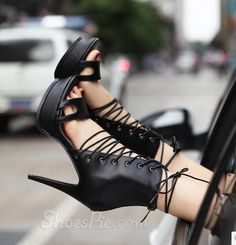 #Sexy #Black Genuine Leather #Cut-Outs #Platform #Sandals