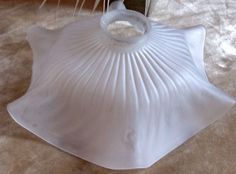 French Lamp Light Shade OPAQUE GLASS CHINA FRILL VINTAGE SPARKLE SHABBY CHIC