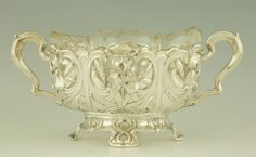 Art Nouveau silver flowerdish with irises by A. Strobl, Germany 1900.