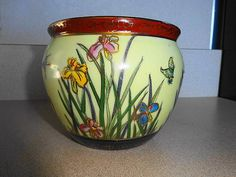 Generous Plantar/ Fishbowl Asian Antiques Hand Painted Vintage Chinese Porcelain Convenience Goods