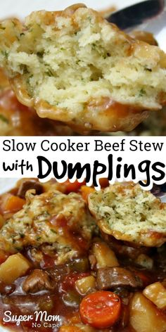 Get this recipe in the slow cooker in the morning before heading off to work. Come home a house filled with the aroma of beef stew that's been cooking all day. Add the dumplings 20 minutes before you Beef Stew Crockpot Easy, Slow Cooker Beef, Slowcooker Beef Stew, Slow Cooking, Meat Recipes, Cooker Recipes, Crockpot Recipes, Healthy Recipes, Beef Stew With Dumplings