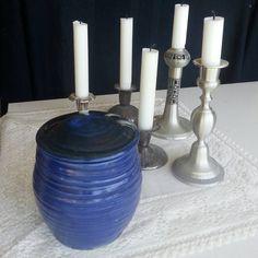 Pet urn with deep blue shiny glaze,  medium size.