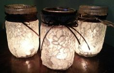 Lace Covered Mason/Kerr Jars set of 3 by ASliceOfSouthernLife, $26.99
