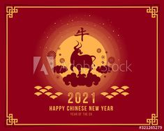 Happy chinese new year 2021 with ox zodiac on the clouds and full moon night vector design - Buy this stock vector and explore similar vectors at Adobe Stock Chinese New Year Images, Chinese New Year Poster, Chinese New Year Design, Chinese New Year Card, Happy New Year Design, Happy New Year Images, New Year Designs, Happy New Year Wishes, New Years Poster